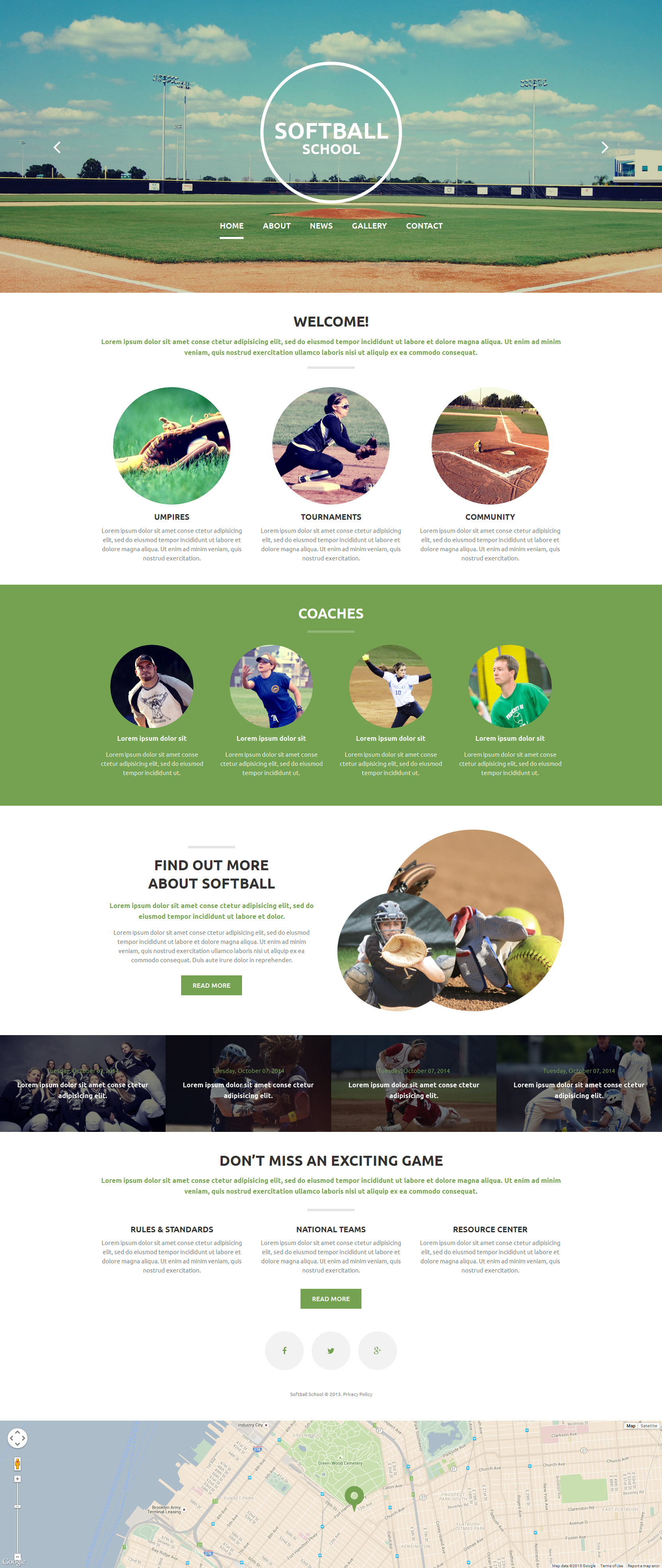 Softball School Website Template