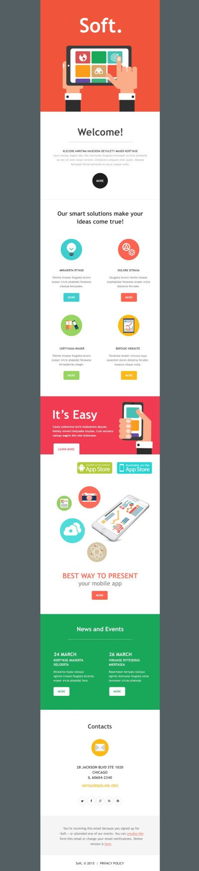 Software Company Responsive Newsletter Template #54615