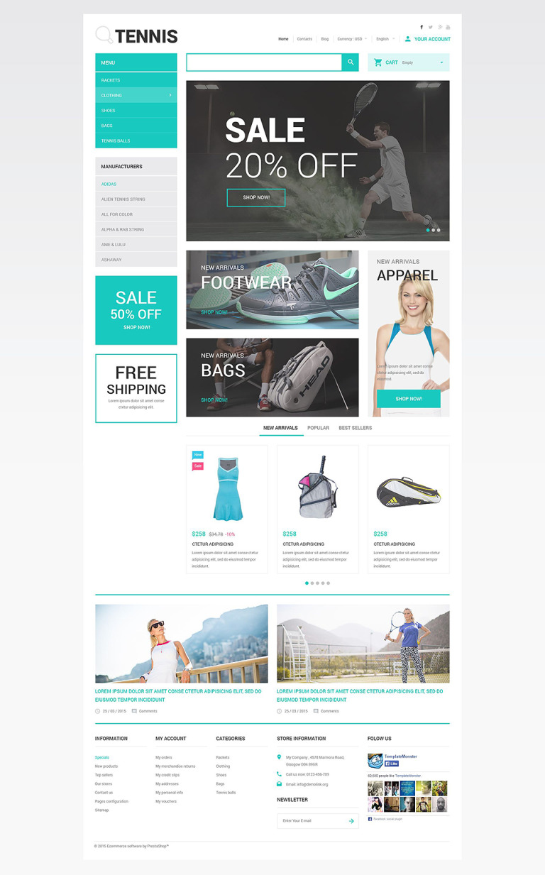Tennis Accessories Store PrestaShop Theme New Screenshots BIG