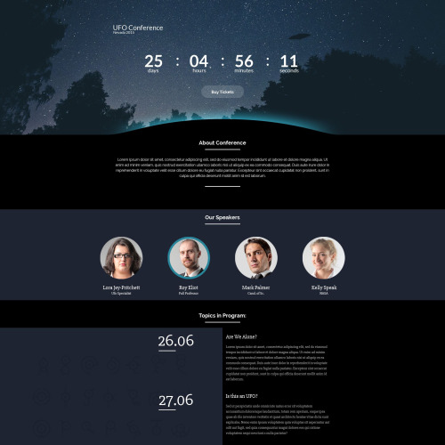 UFO Conference - Responsive Landing Page Template