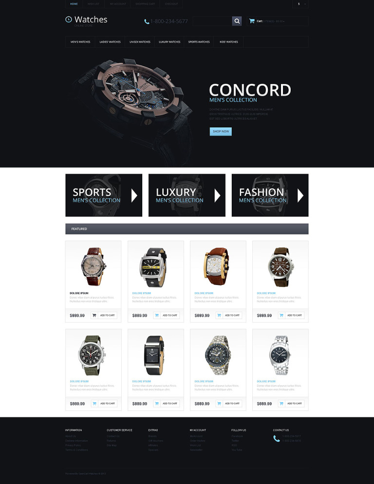 Watches Responsive OpenCart Template New Screenshots BIG