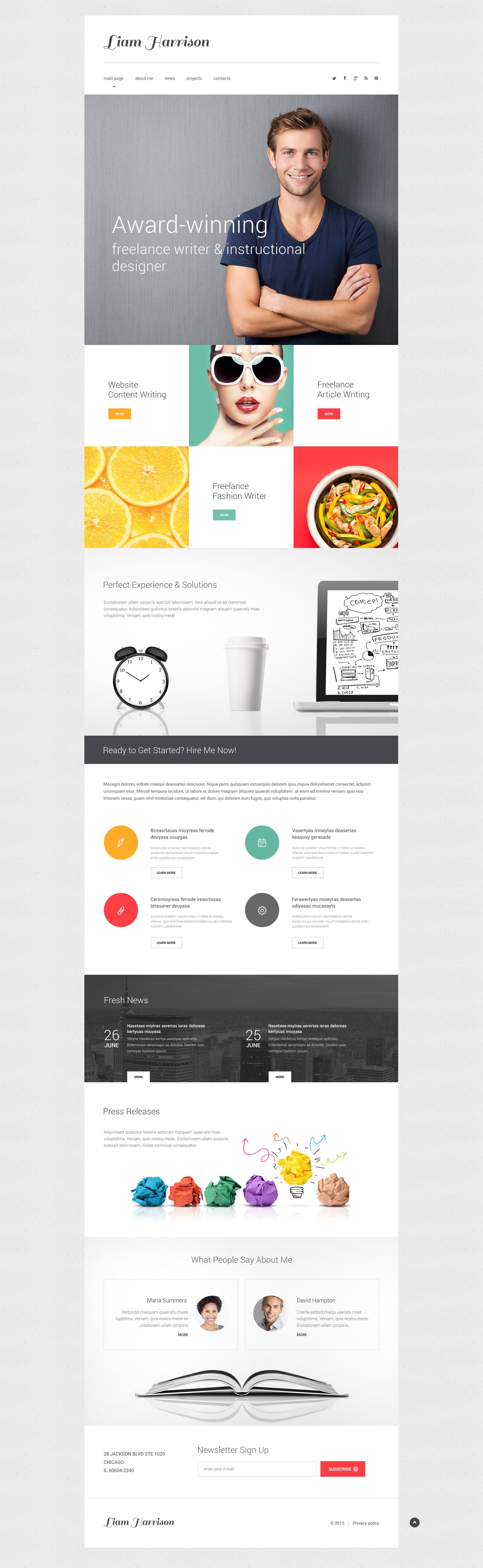 Writer/Author Responsive Website Template #54686