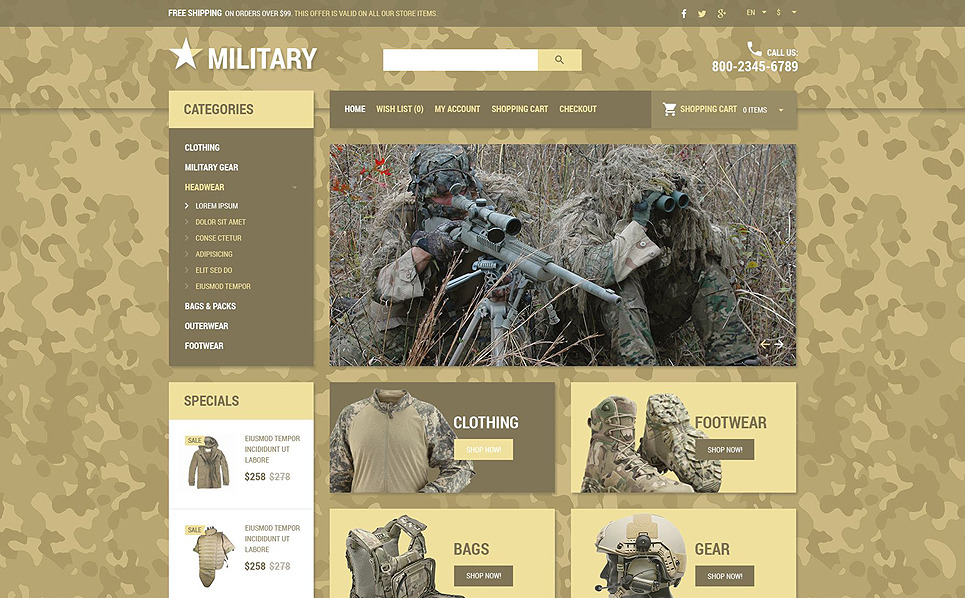 Responsive OpenCart Vorlage für Militär  New Screenshots BIG