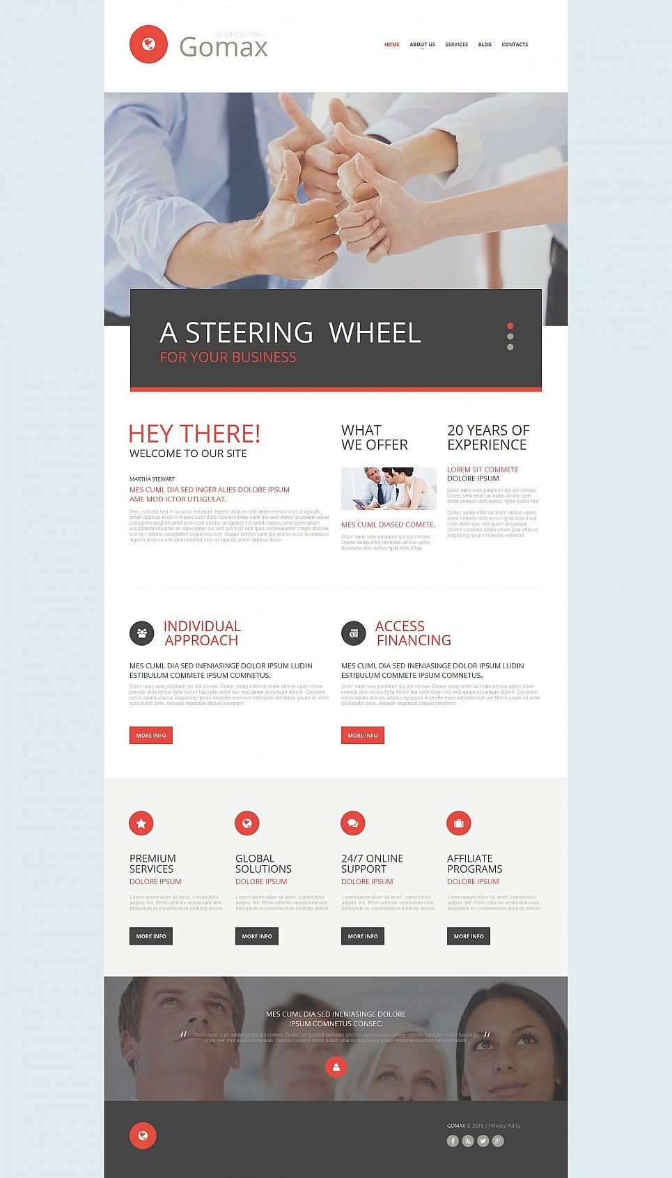 Clear theme for corporate site
