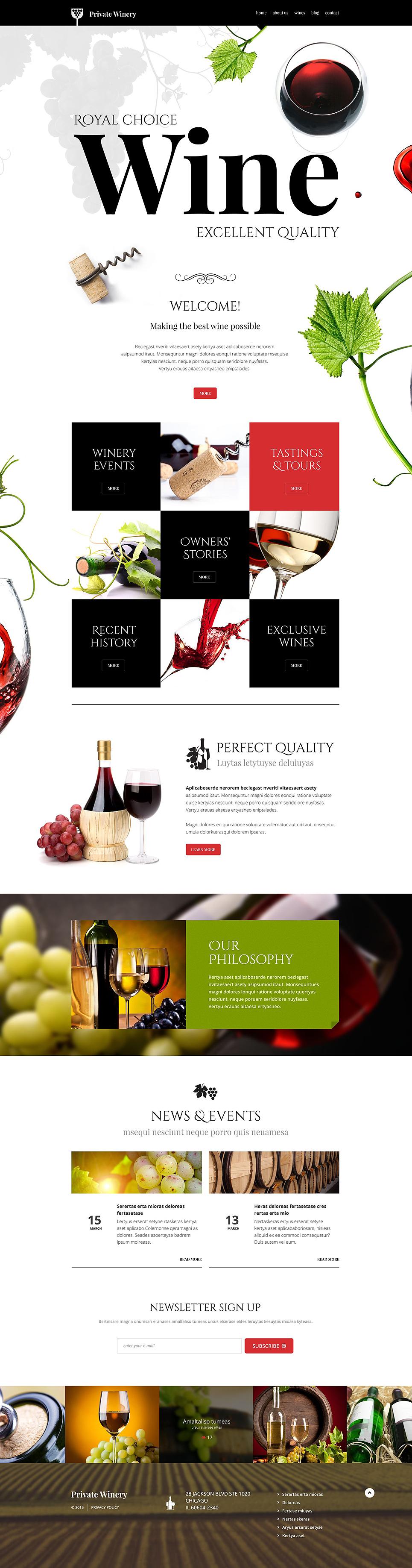 Адаптивный шаблон сайта на тему виноделие #54789