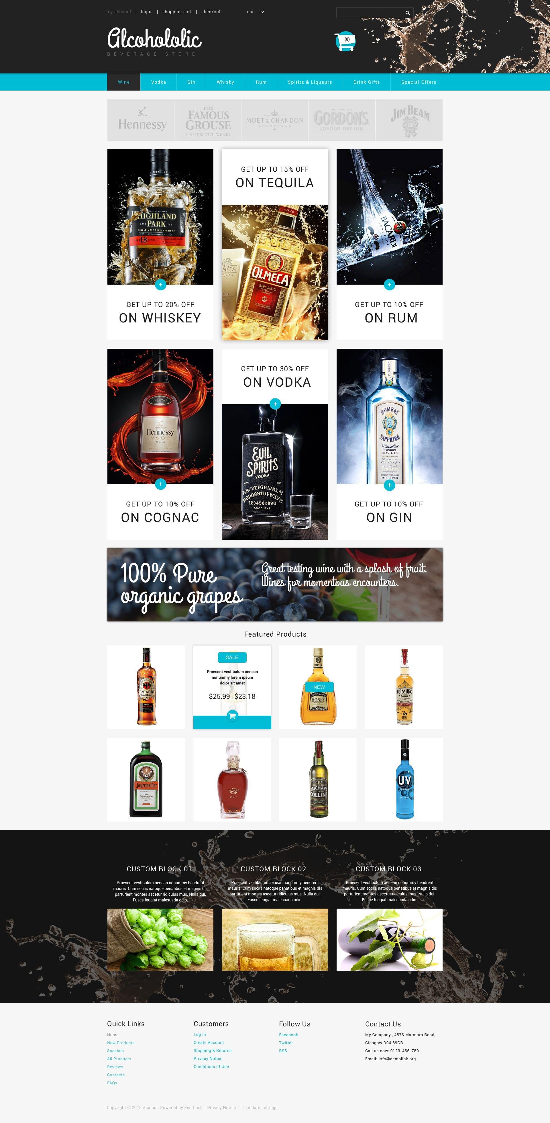 """Alcoholic Beverage Store"" Responsive ZenCart template №54720"