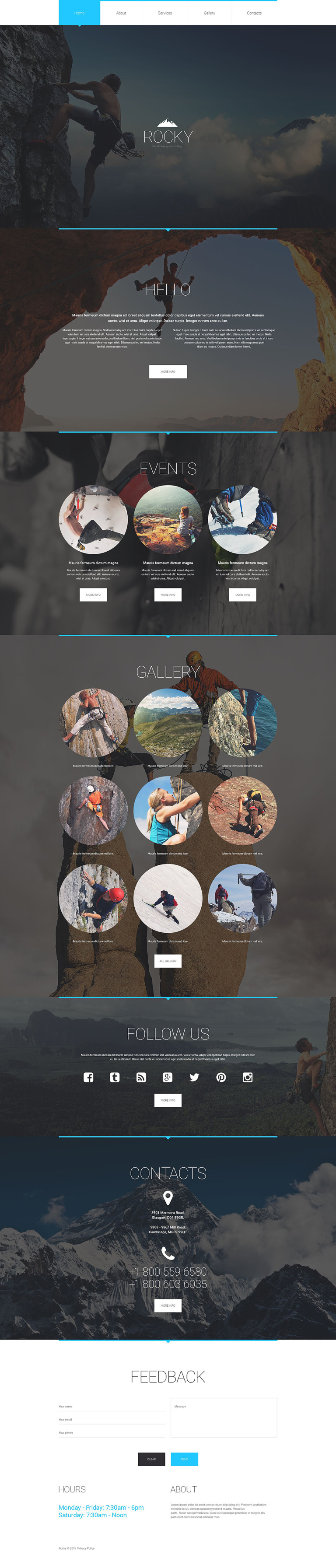Climbing Responsive Website Template New Screenshots BIG