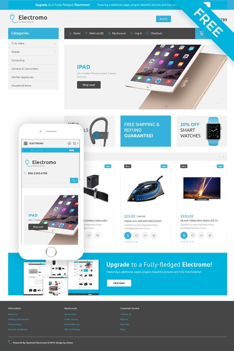 """""""Electromo - Electronics Store eCommerce Clean"""" Responsive OpenCart Template №54714"""