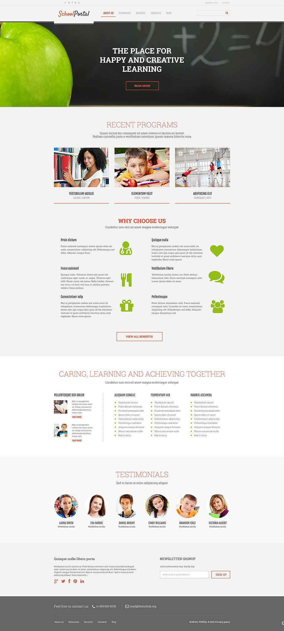 Elementary School Responsive WordPress Theme New Screenshots BIG
