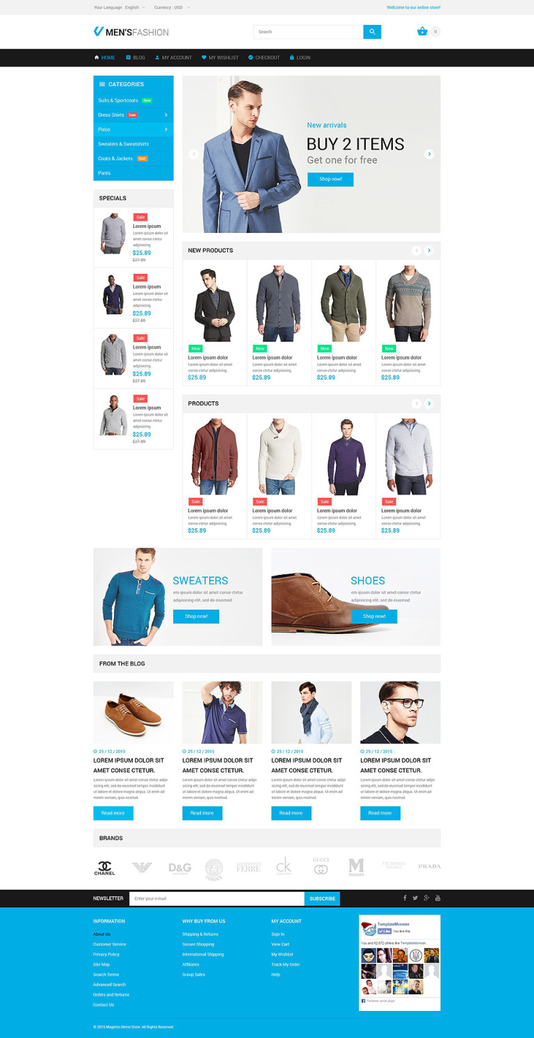 Masculine Elegance Magento Theme New Screenshots BIG