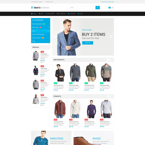 Men's Fashion  - Magento Template based on Bootstrap