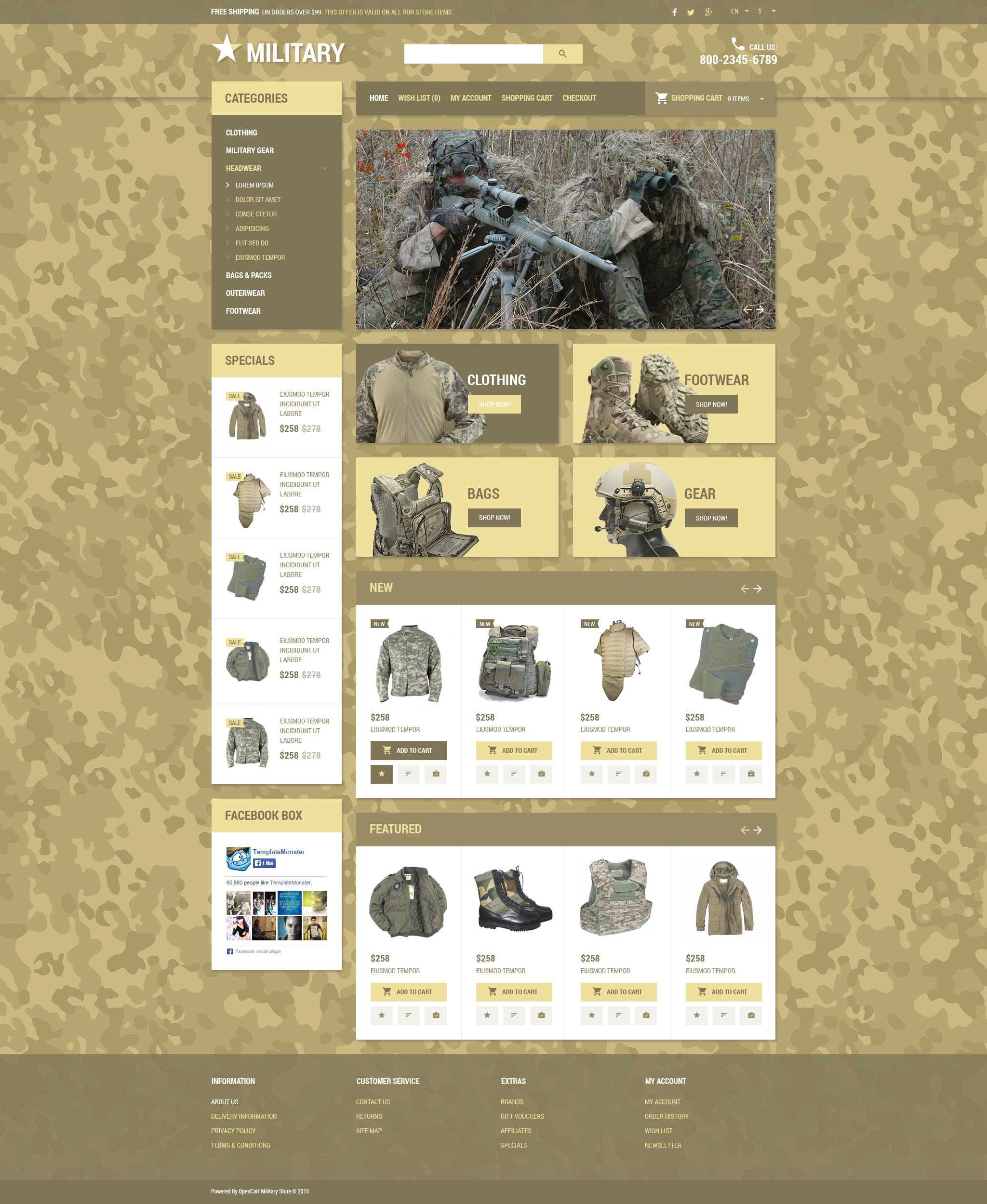 military gear opencart template
