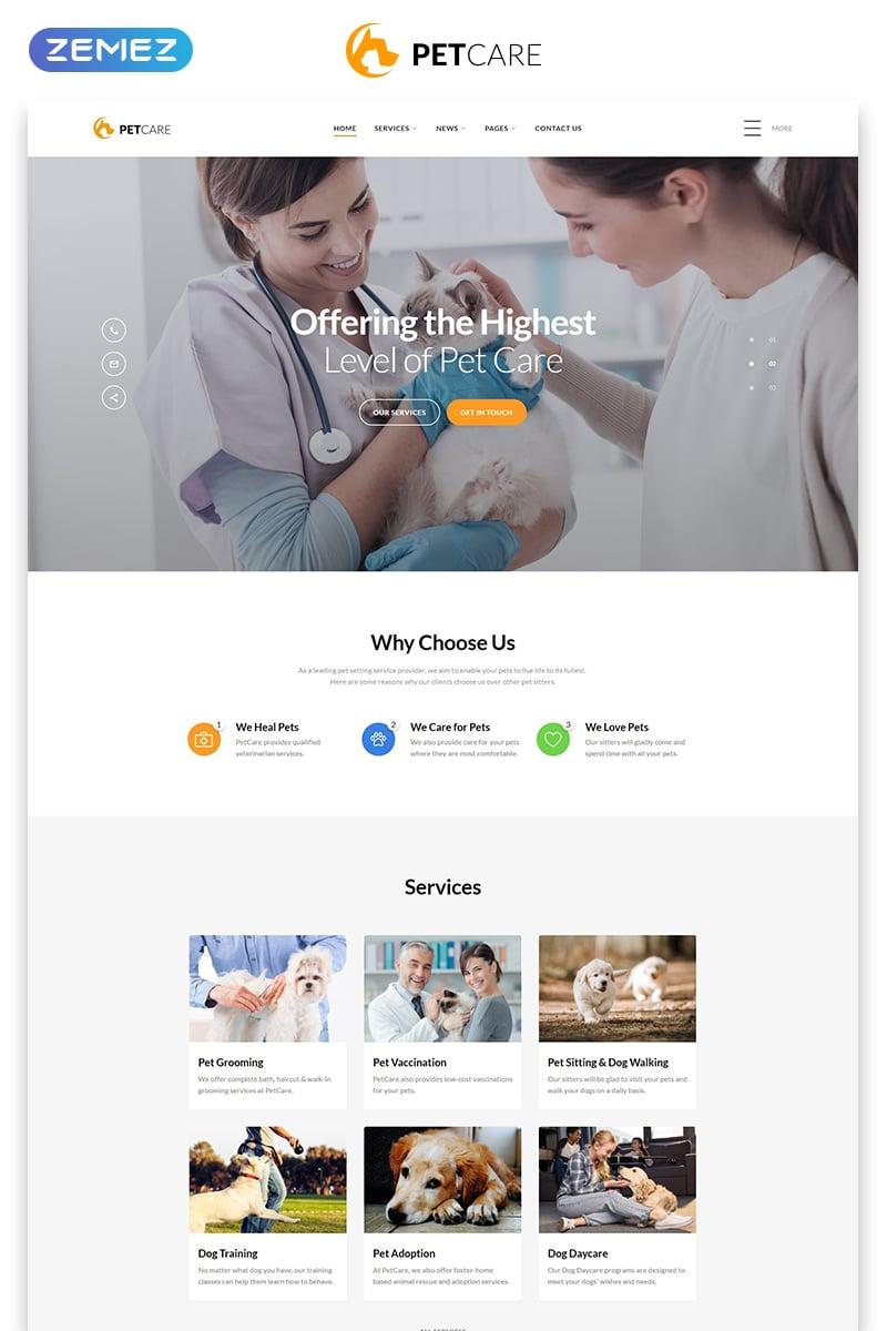 "Modello Siti Web Responsive #54704 ""Pet Care - Vet Pet Care Clean HTML"""