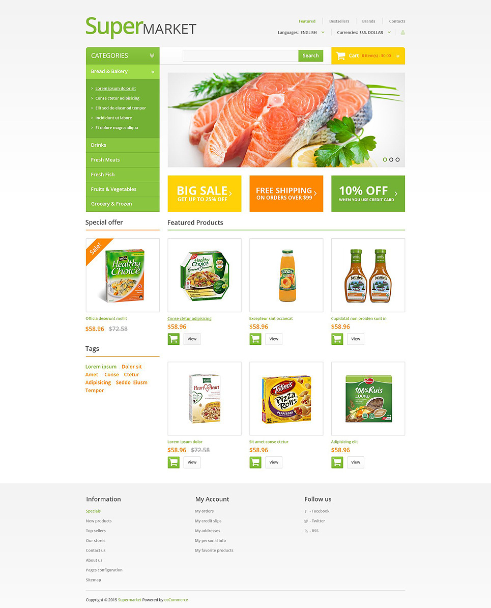 Online Supermarket OsCommerce Template New Screenshots BIG