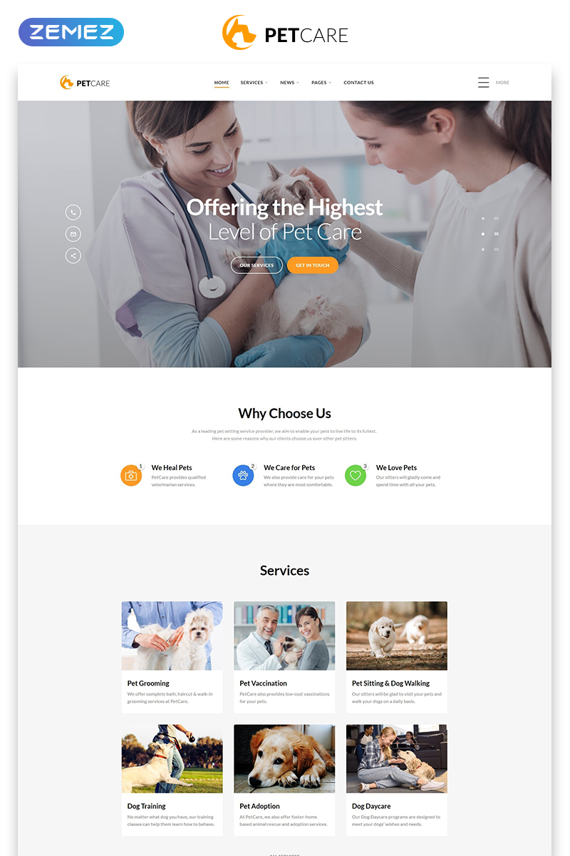 """Pet Care - Vet Pet Care Clean HTML"" Responsive Website template №54704"