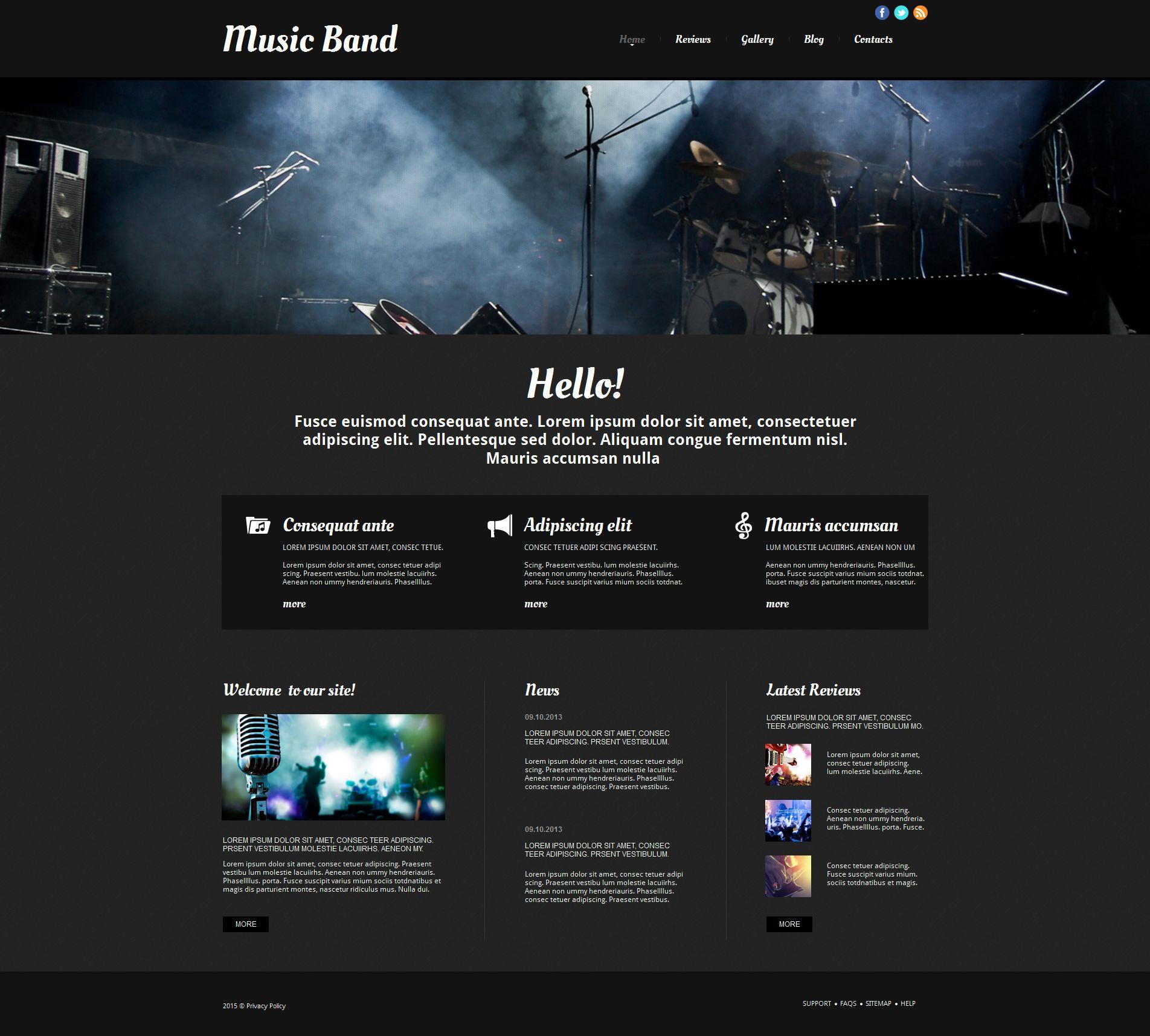 Plantilla Moto CMS HTML #54765 para Sitio de Grupos musicales