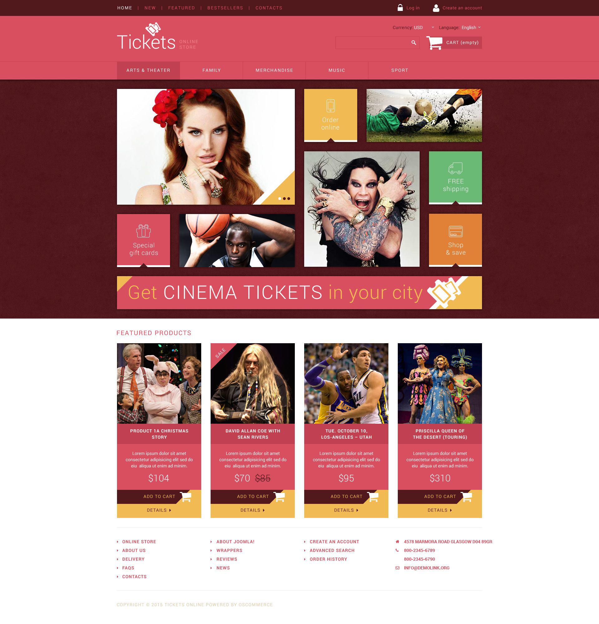 Plantilla OsCommerce #54779 para Sitio de Entradas/billetes - captura de pantalla