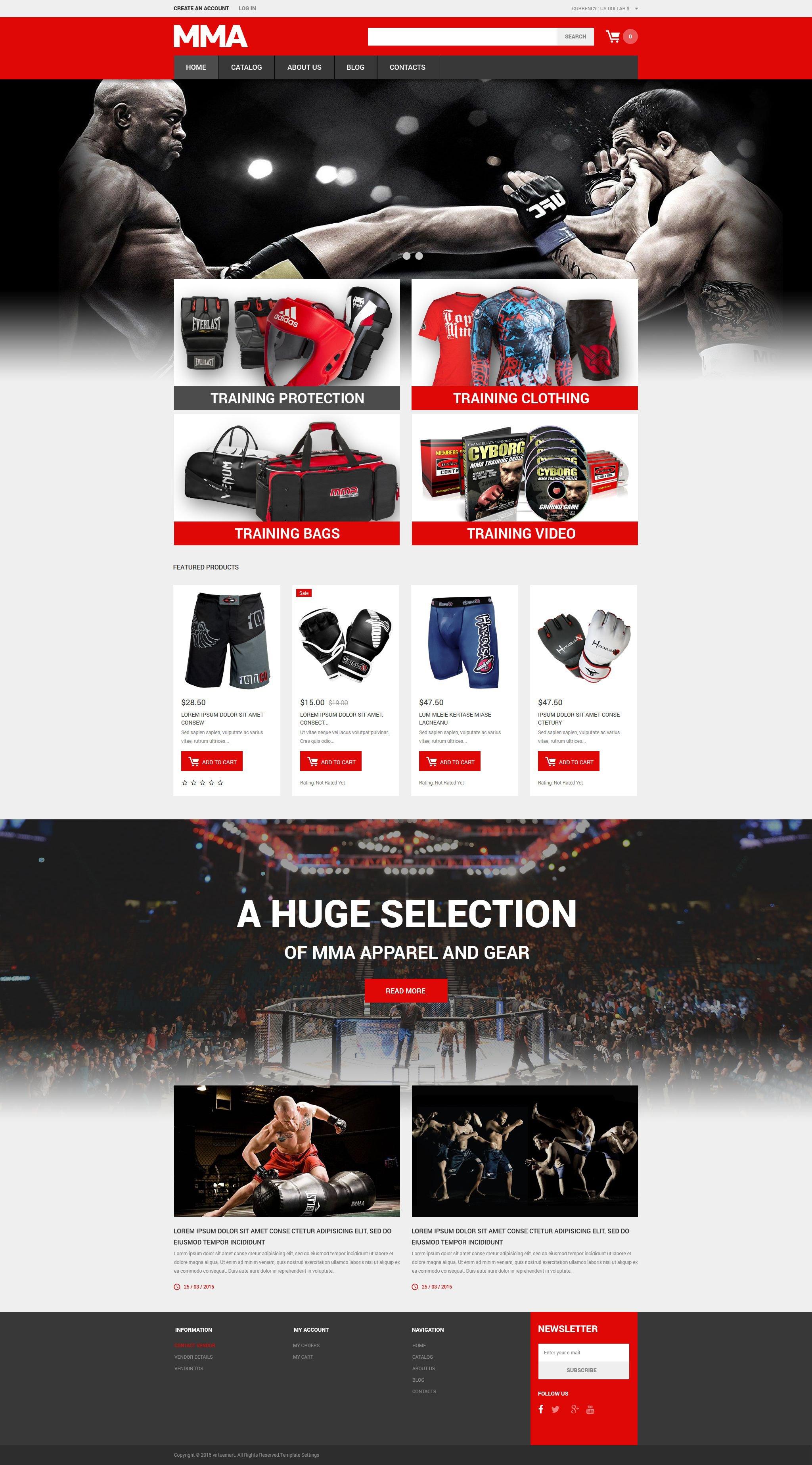Plantilla VirtueMart #54780 para Sitio de Artes marciales - captura de pantalla