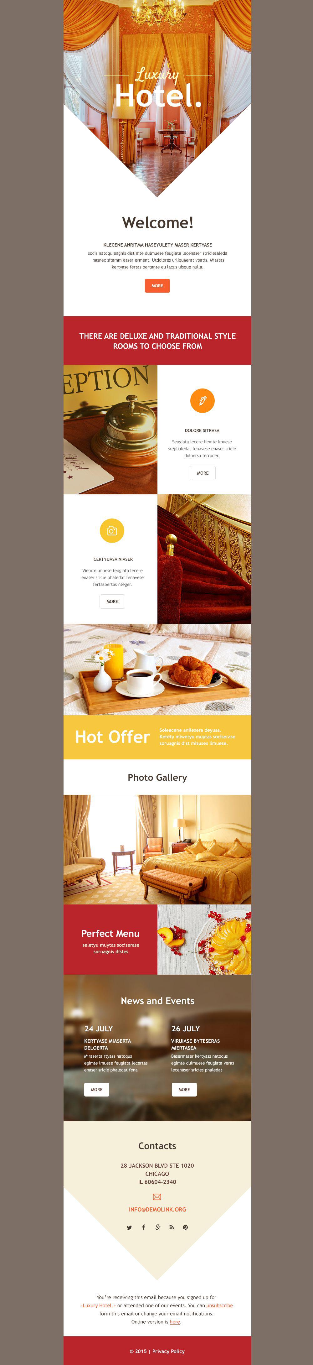 Responsive Newsletter Vorlage für Hotels #54740