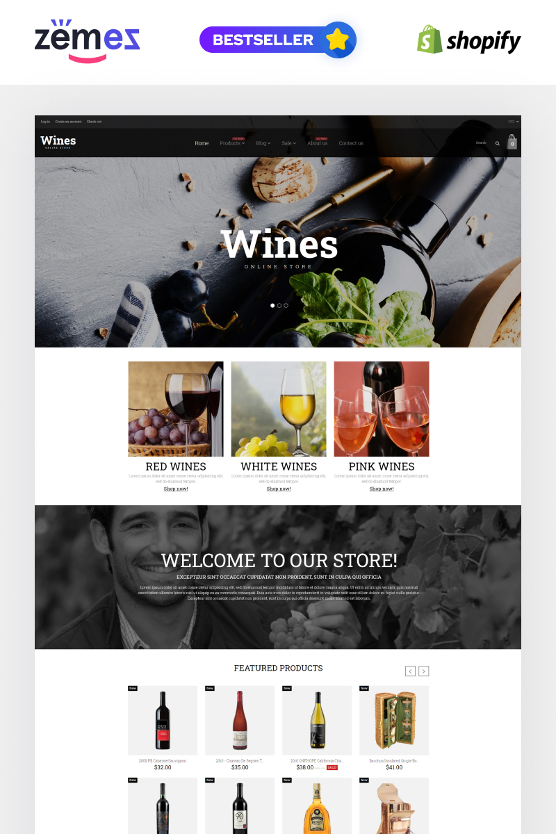Responsive Shopify Thema over Wijn №54786