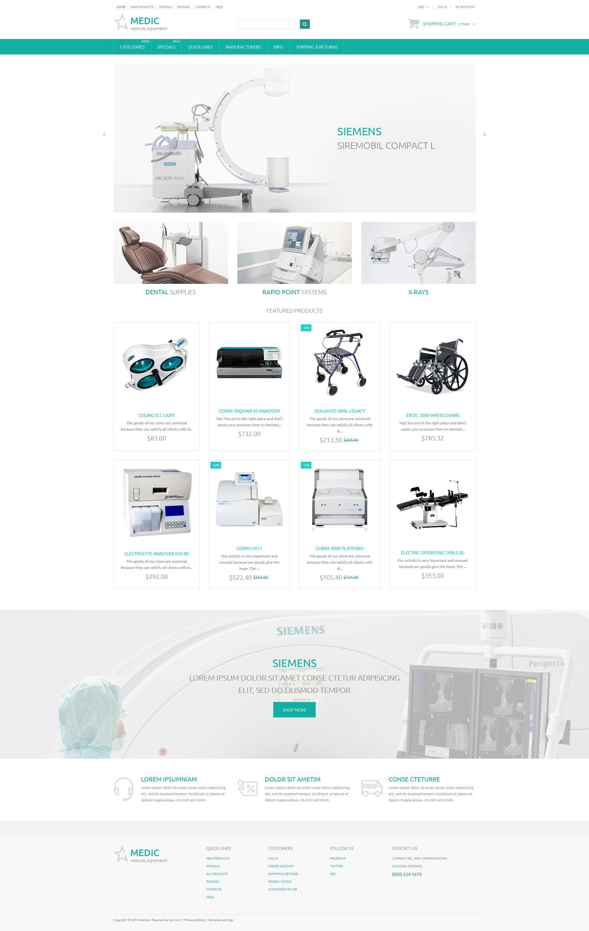 Responsywny szablon ZenCart Medic #54715