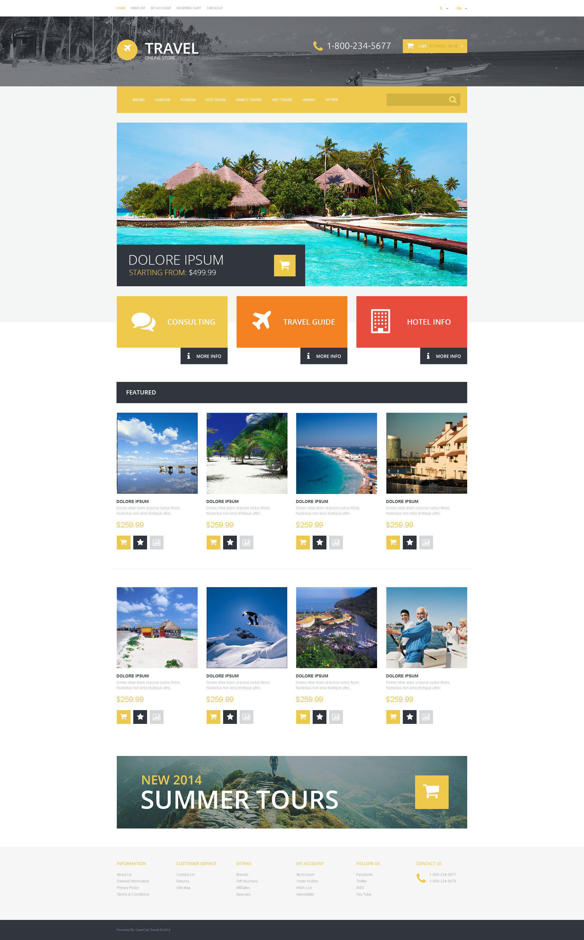 Responzivní OpenCart šablona na téma Cestovní kancelář #54745 - screenshot