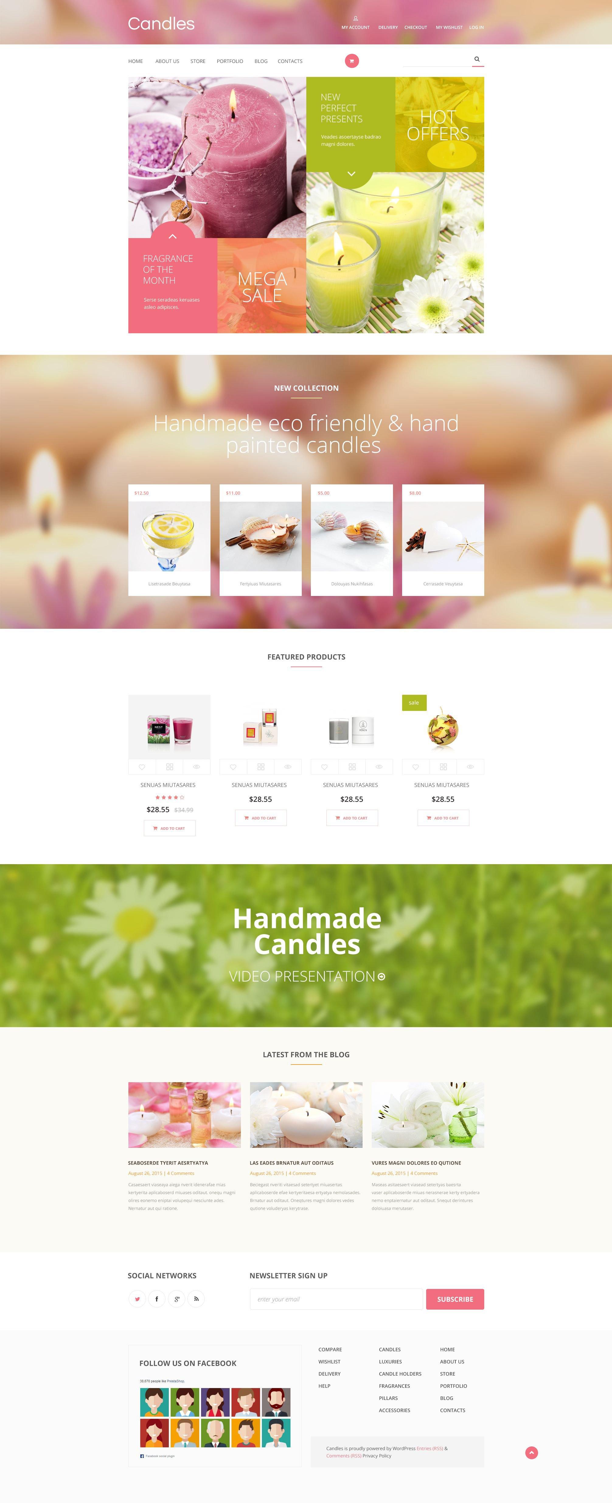Reszponzív Candles WooCommerce sablon 54735 - képernyőkép