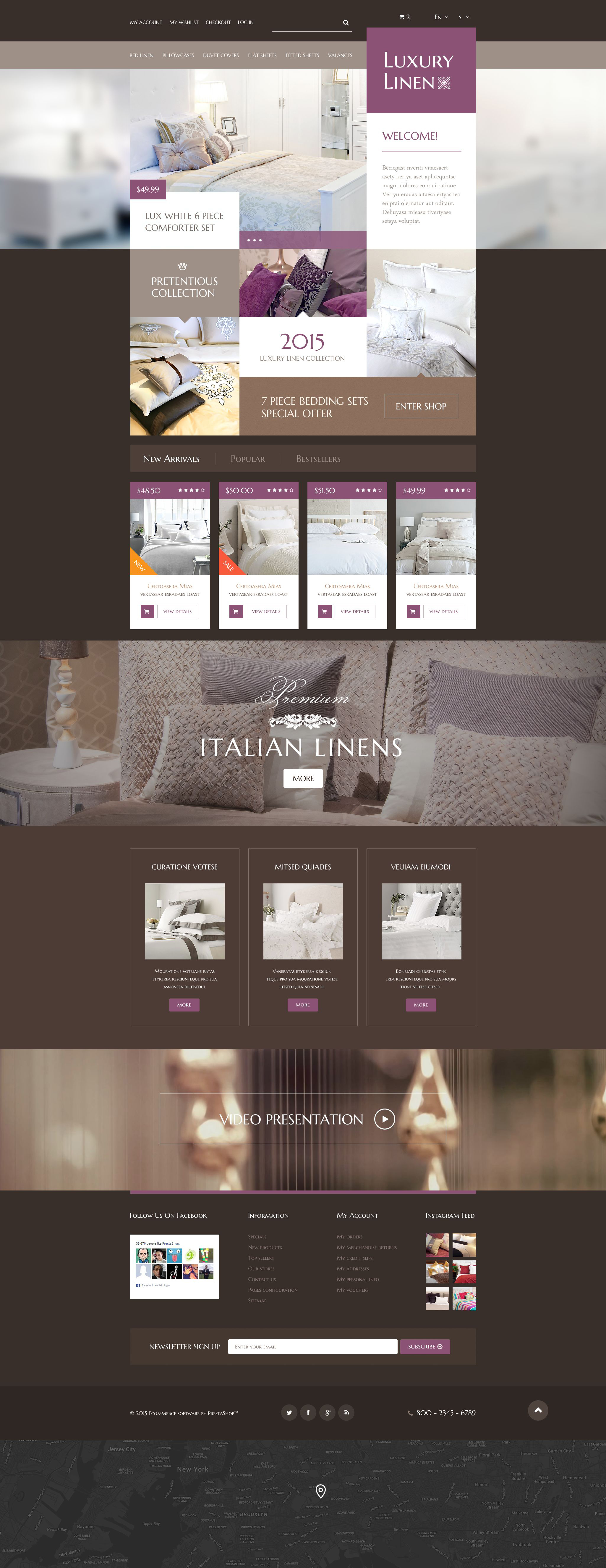 Reszponzív Luxury Linen Store PrestaShop sablon 54743 - képernyőkép