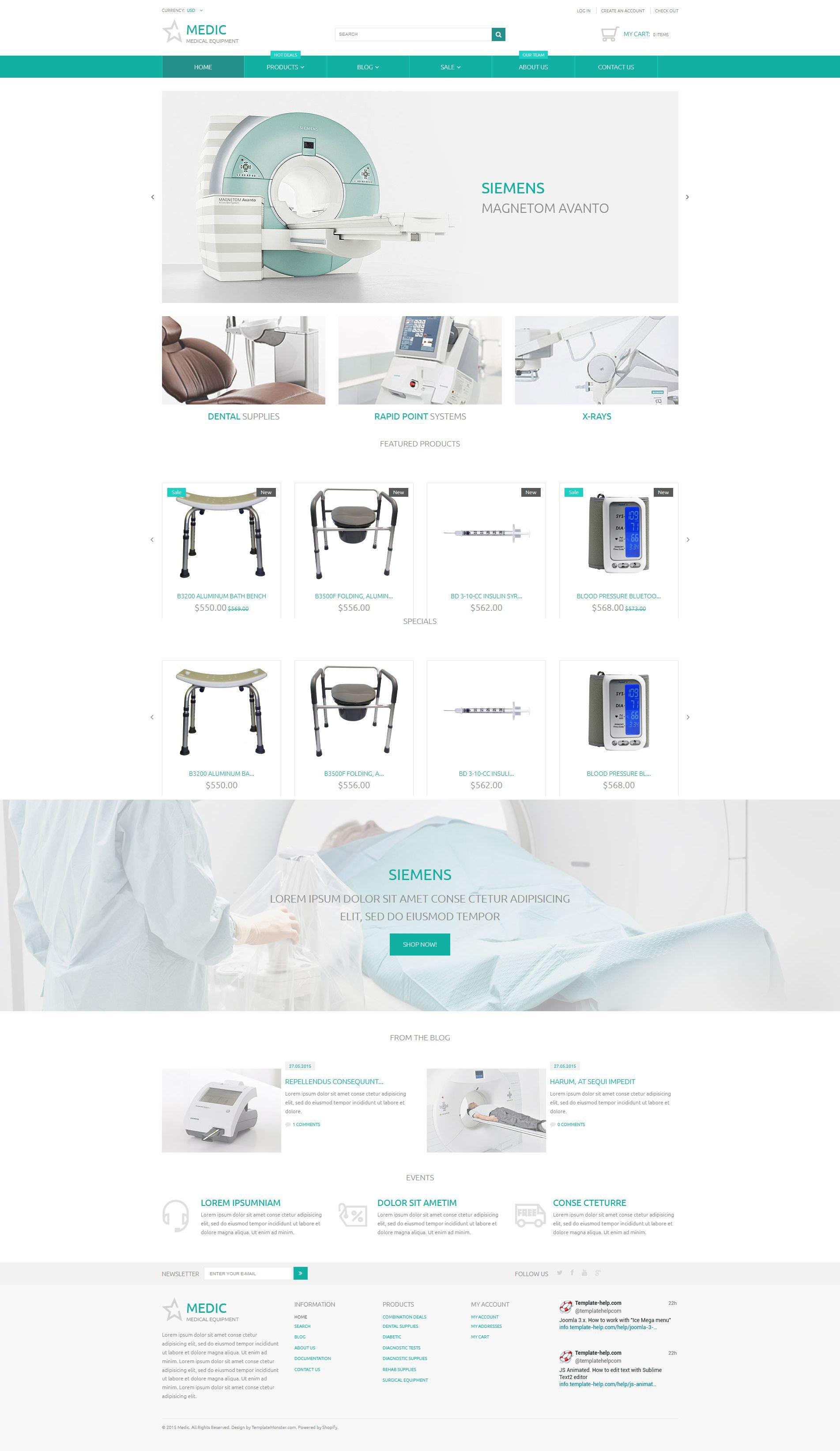 Reszponzív Orvosi felszerelések témakörű Shopify sablon 54719 - képernyőkép