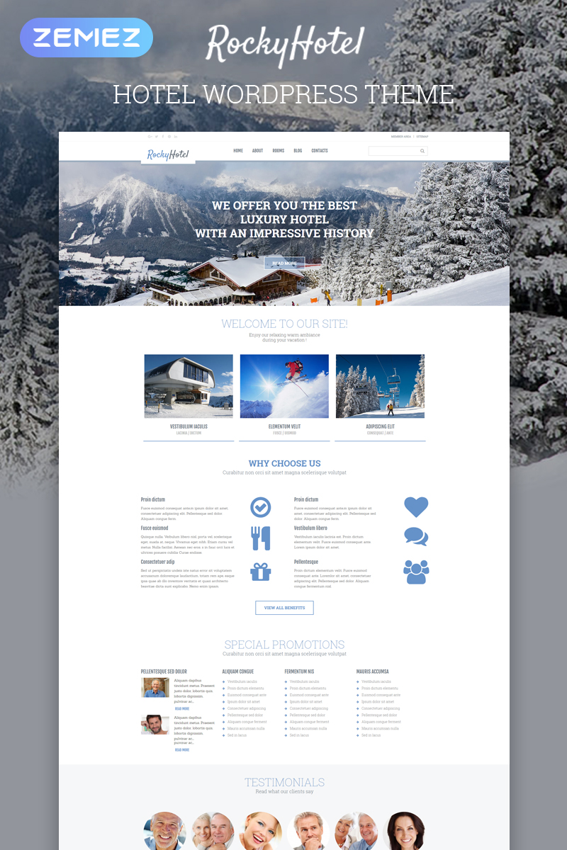 """RockyHotel - Hotel Multipurpose Modern Elementor"" - адаптивний WordPress шаблон №54792"