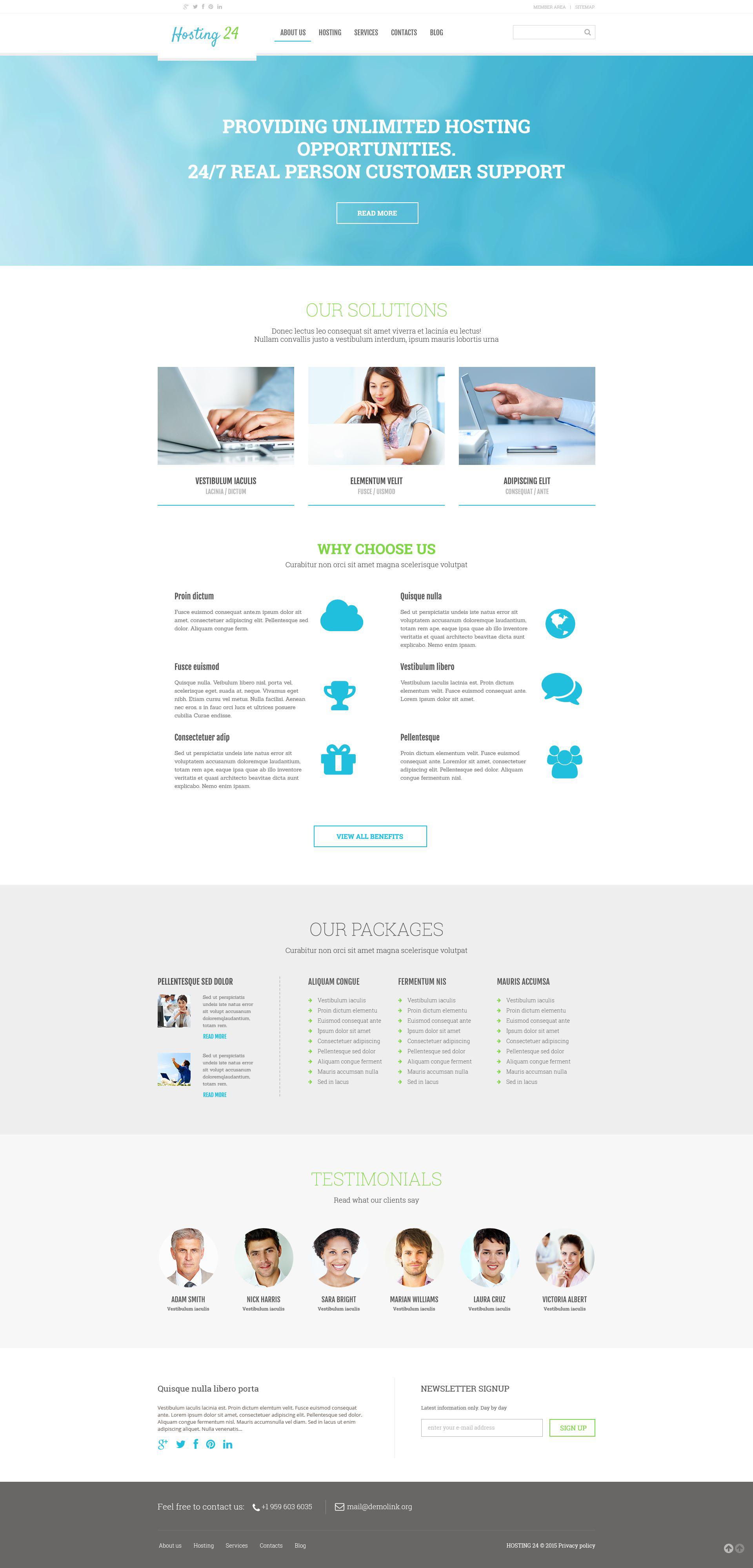 Tema De WordPress Responsive para Sitio de Hosting #54791