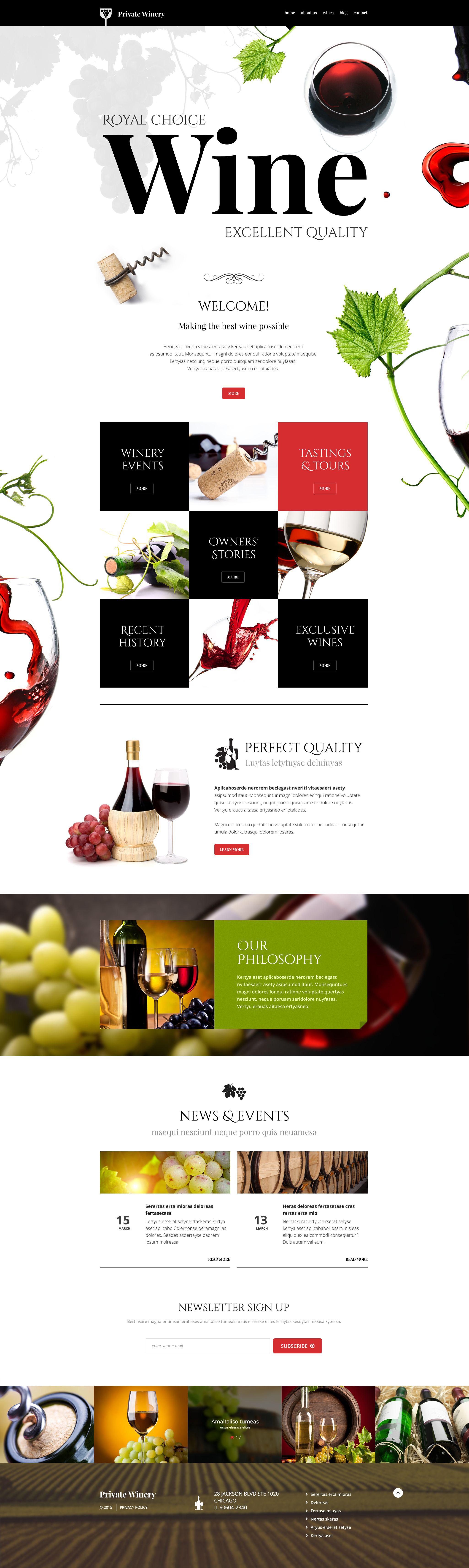 "Tema WordPress Responsive #54789 ""Private Winery"" - screenshot"