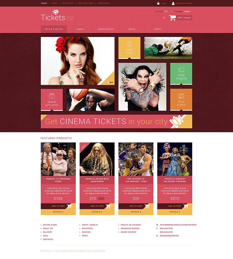 Tickets Website OsCommerce Template New Screenshots BIG