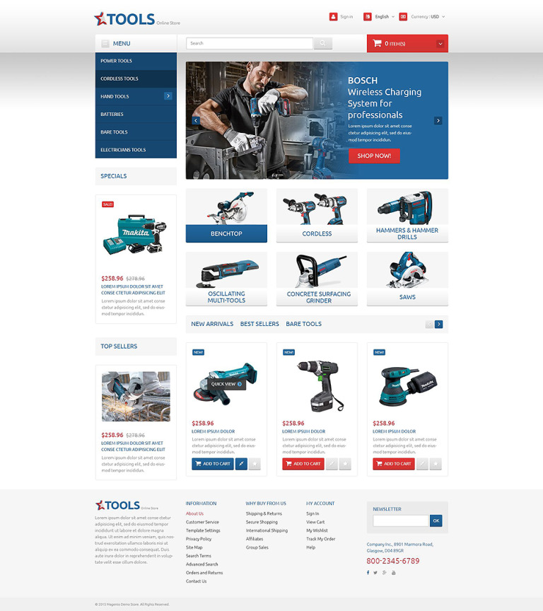 Tools and Equipment PrestaShop Theme New Screenshots BIG