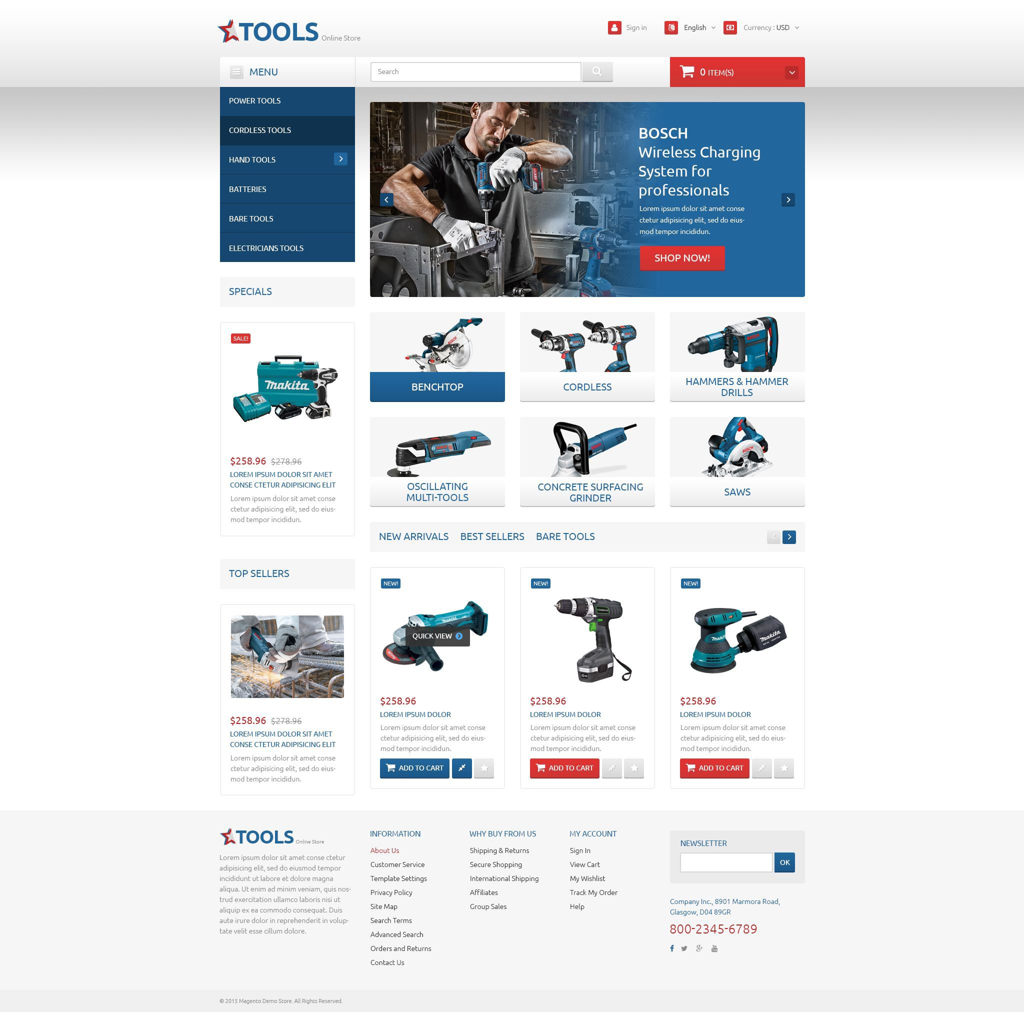 Tools and Equipment PrestaShop Theme