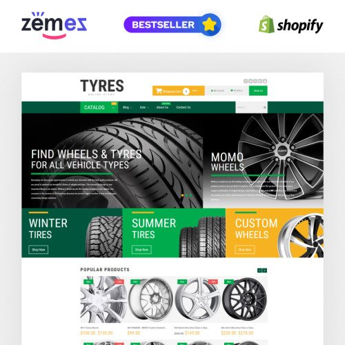 Tyres - Shopify Template based on Bootstrap