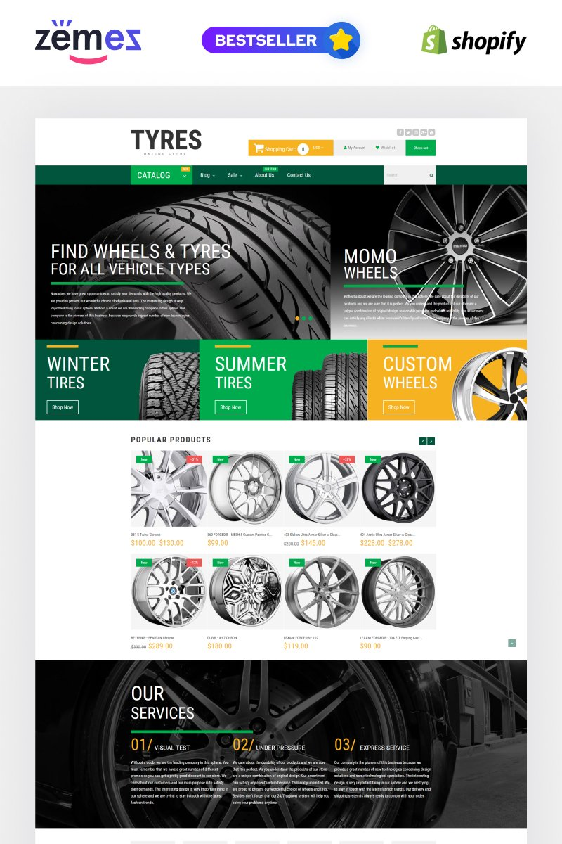 """""""Wheels and Tyres"""" 响应式Shopify模板 #54785"""