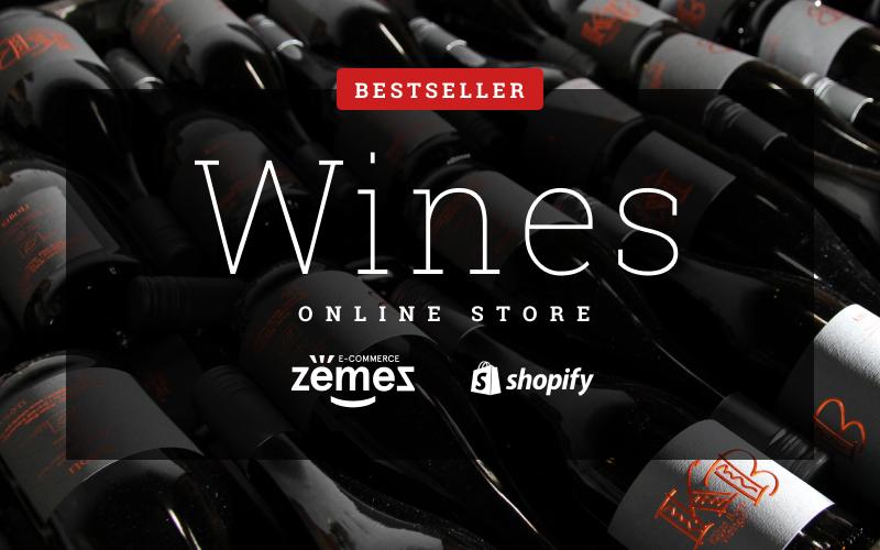 """Wine Responsive"" 响应式Shopify模板 #54786"