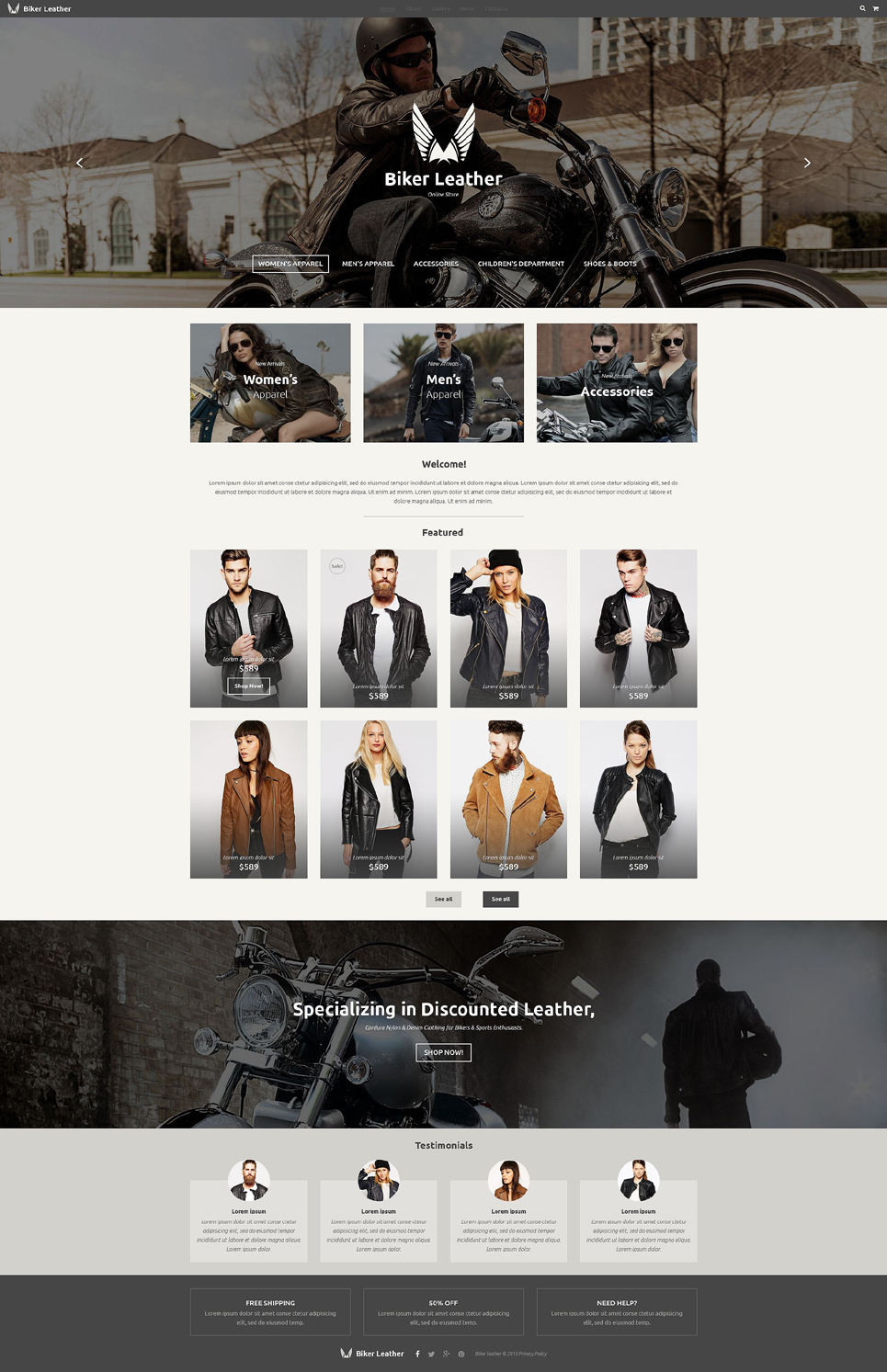 Leather Apparel Store template illustration image