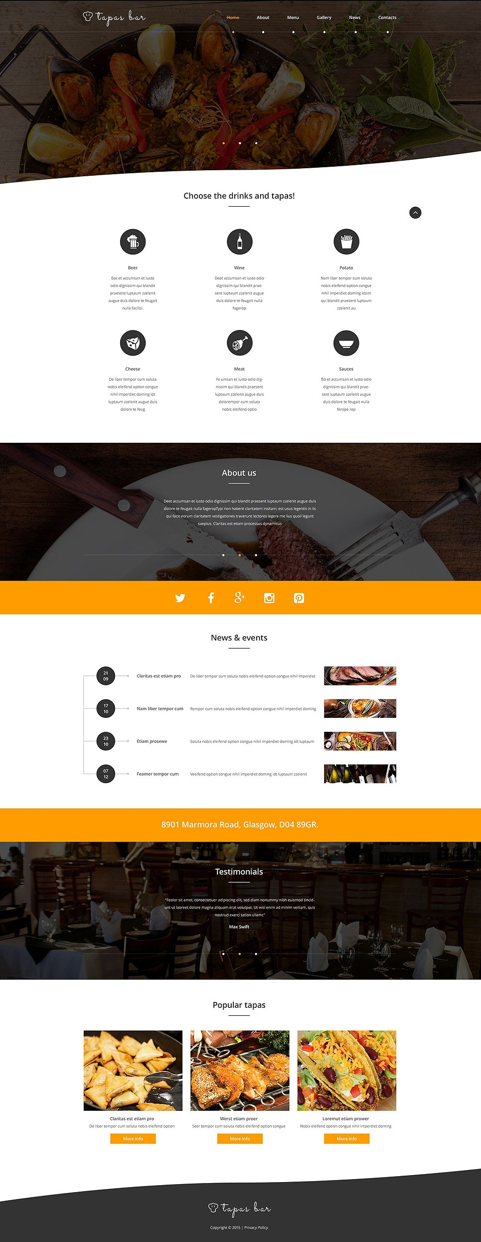 Tapas bar 54815 by wt website templates for Tapas menu template