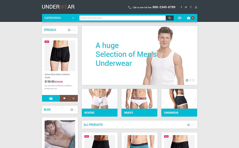Responsive Men's Underwear Templates Magento Teması New Screenshots BIG