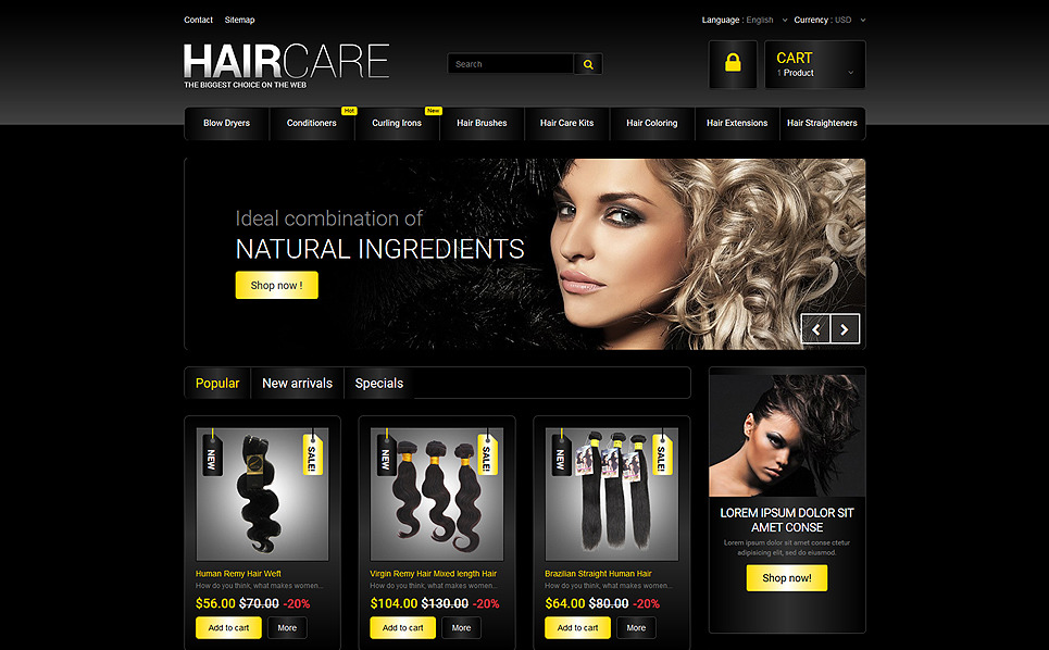 "PrestaShop Theme namens ""Haarstudio"" New Screenshots BIG"