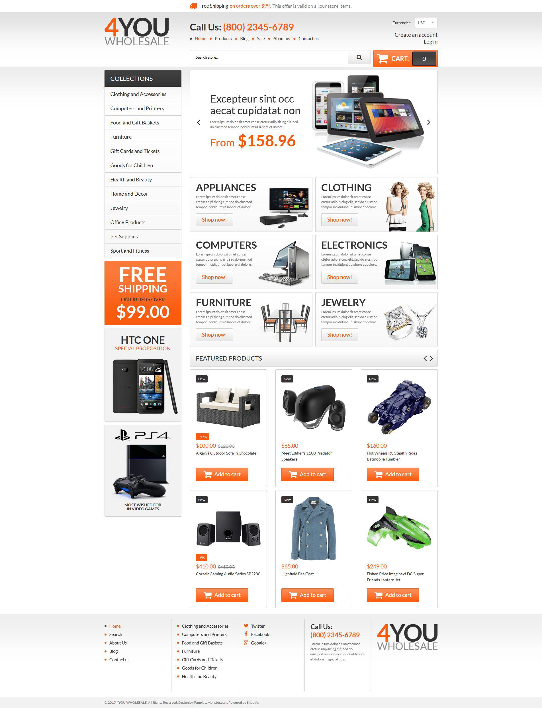 Адаптивный Shopify шаблон №54840 на тему оптовый магазин - скриншот