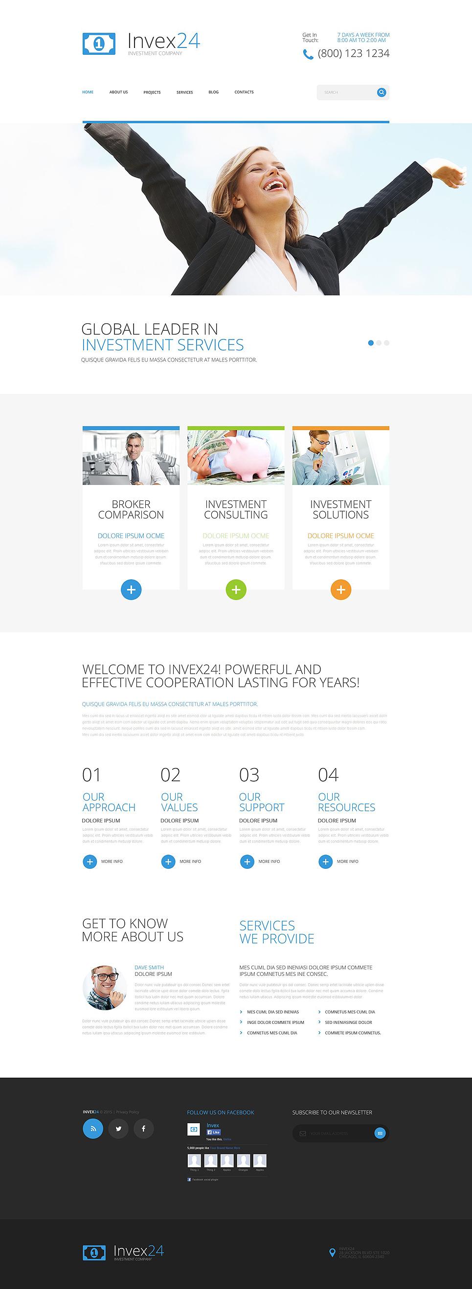 Адаптивный шаблон сайта на тему инвестиционная компания #54861