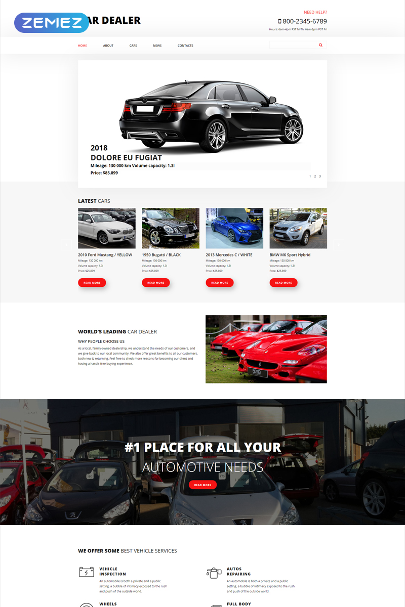 """Car Dealer - Car Dealer Clean"" Responsive Joomla Template №54872"