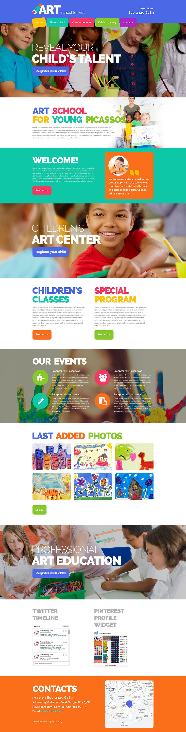Children Art School Website Template New Screenshots BIG