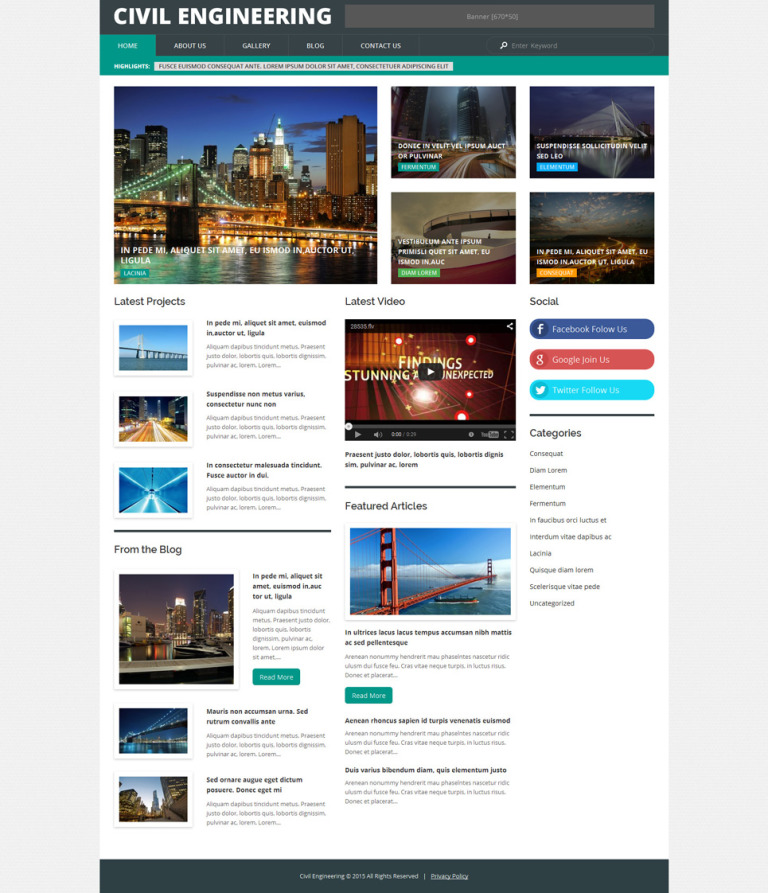 Civil Engineering WordPress Theme New Screenshots BIG