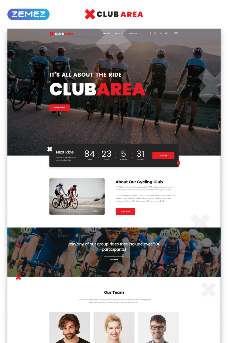 """Clubarea - Cycling Multipage Creative HTML"" - адаптивний Шаблон сайту №54808"