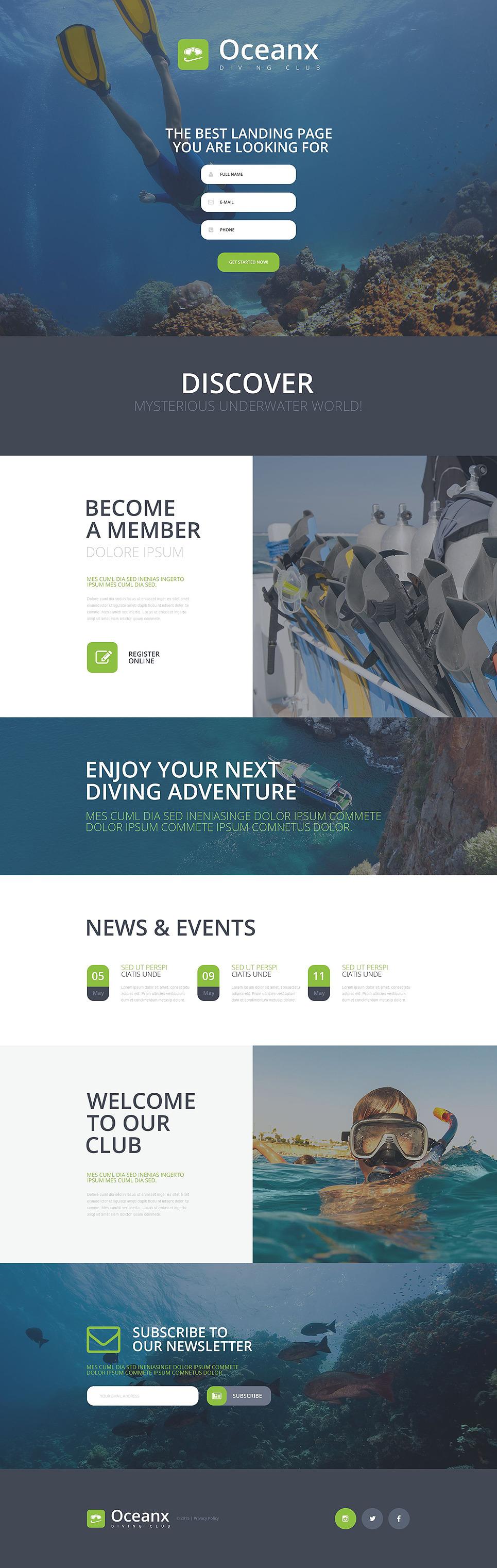 Diving Responsive Landing Page Template New Screenshots BIG
