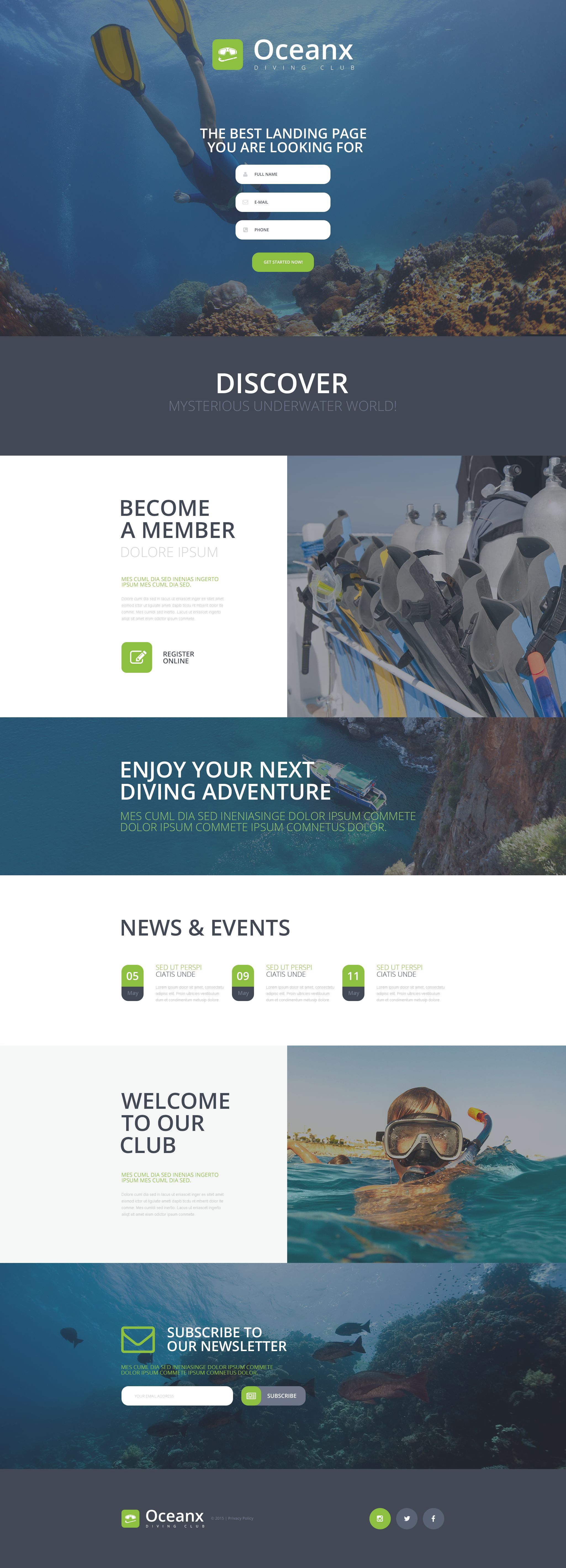 Diving Responsive Landing Page Template - Privacy page template